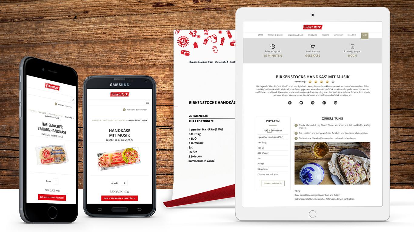 Mobile Ansicht der Birkenstock Webseite