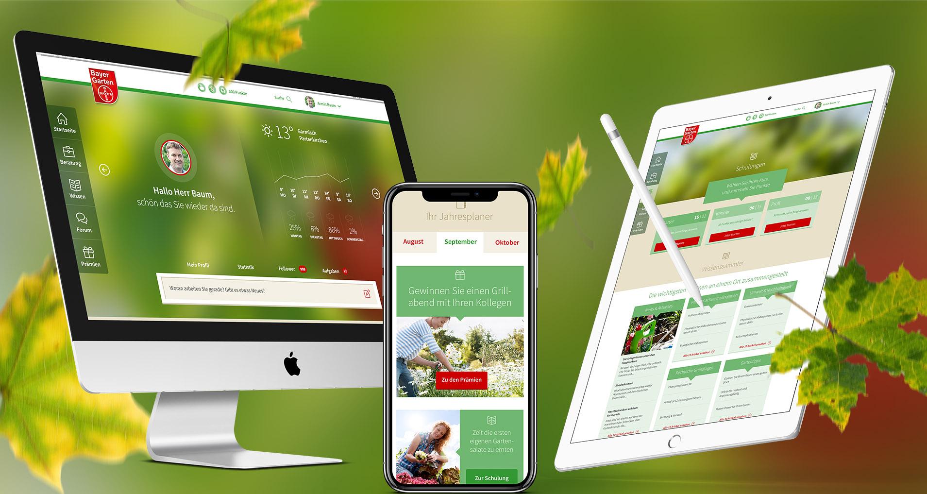 Monitor, Handy und Tablet mit Bayer Garten Webseite