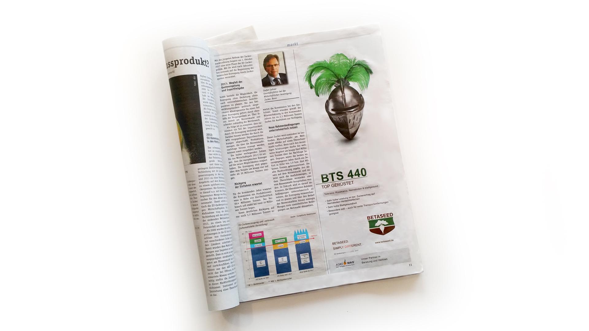 Zeitschrift mit Betaseed-Werbung
