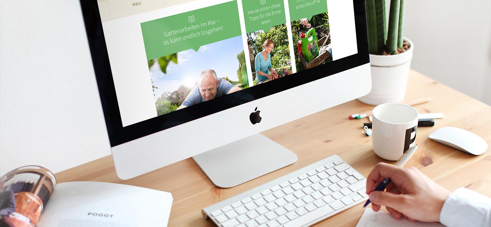 Monitor mit Bayer Garten Webseite