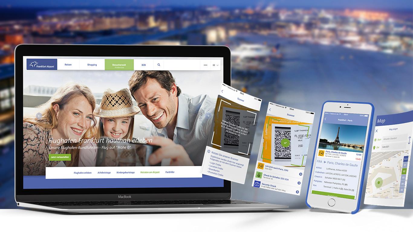 Laptop und Handy mit Fraport Webseite