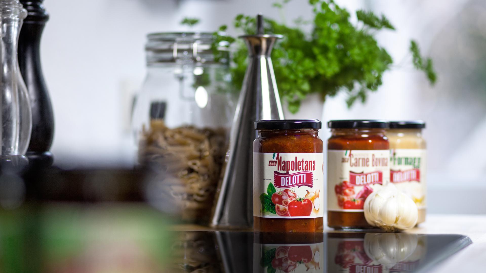 Delotti Produkte auf Küchenzeile