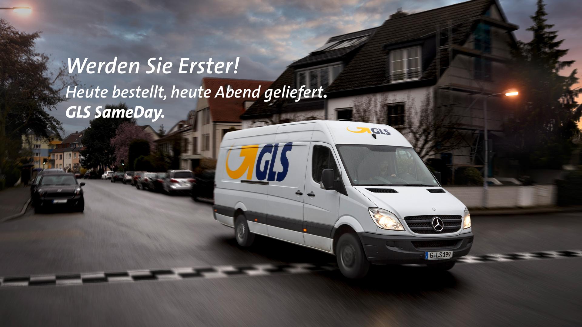GLS Lieferfahrzeug, Werden sie erster! Heute bestellt, heute Abend geliefert. GLS SameDay.