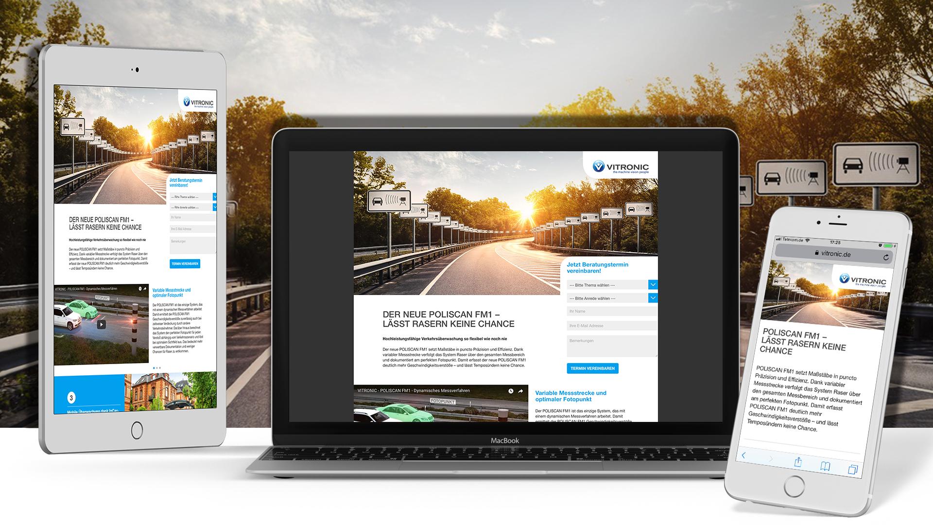 Laptop, Handy und Tablet mit Vitronic Webseite